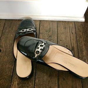 Salvatore Ferragamo Leather Mules with Silver Bit
